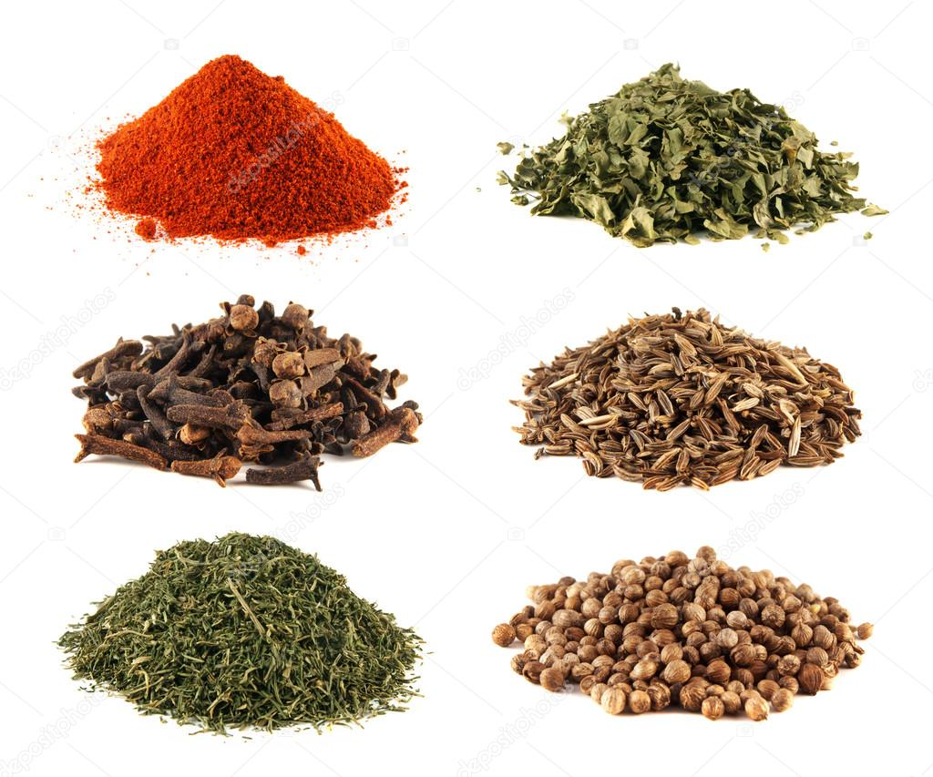 Spice heap collection isolated on white background