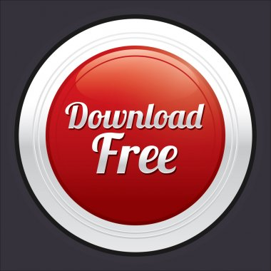 Download free button. Vector red round sticker.