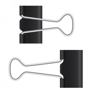 Binder clip. Black paper clip. Isolated metal icon