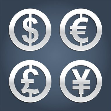 Dollar, Euro, Pound and Yen signs collection.
