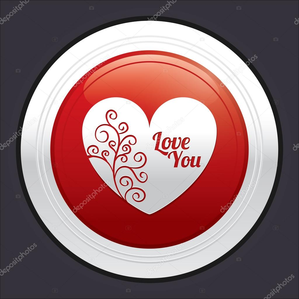 botón de corazón. etiqueta engomada roja amor redondo — Fotos de ...