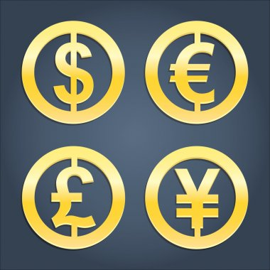 Dollar, Euro, Pound and Yen gold signs collection