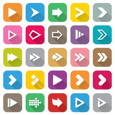 Arrow sign icon set. 25 Flat buttons for Web.
