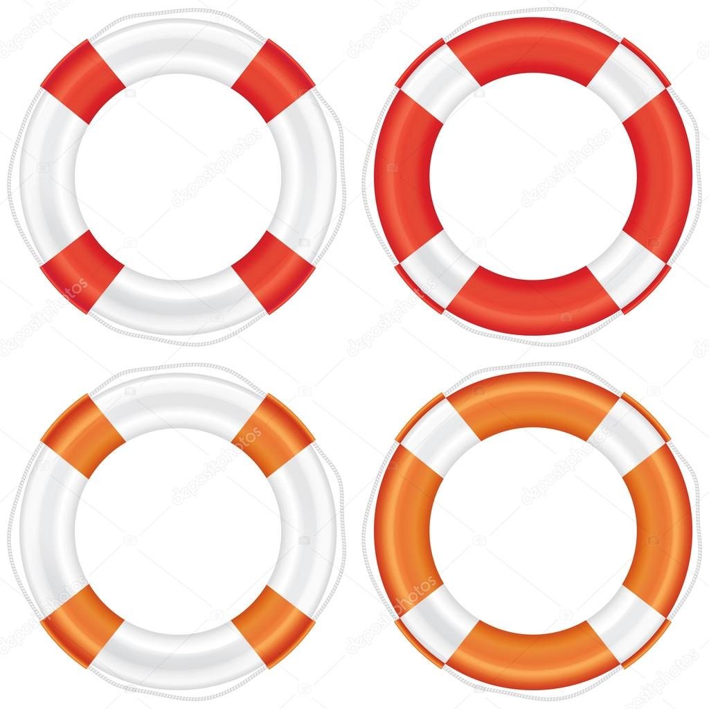 Colorful lifebuoy set with stripes and rope.