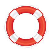 Lifebuoy with red stripes and rope (salvation).