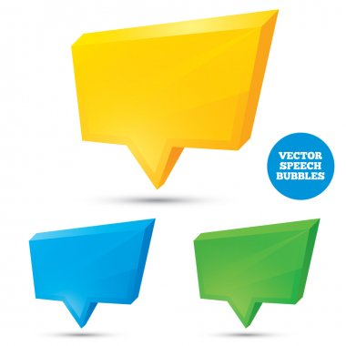 Colorful 3d speech bubbles . Illustration for your design. stock vector