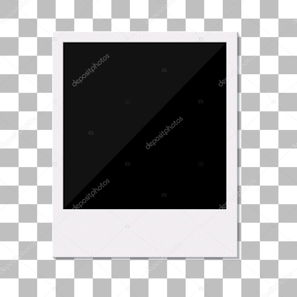 Blank retro polaroid photo frame.