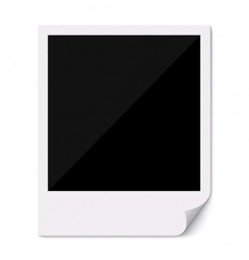 Blank polaroid photo frame with curved corner