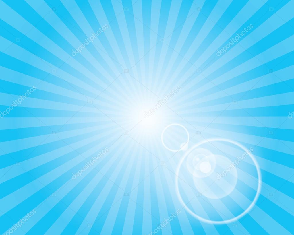 Sun Sunburst Pattern with lens flare. Blue sky.