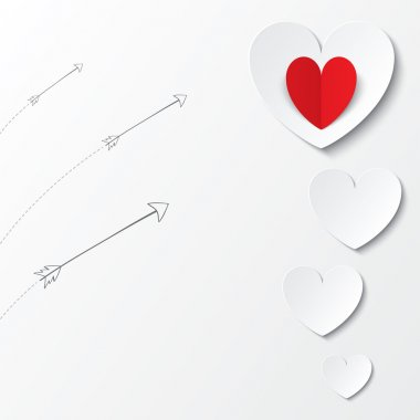 White paper hearts Valentines day card with arrows