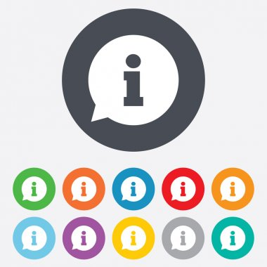Information sign icon. Info speech bubble symbol. Round colourful 11 buttons. Vector stock vector
