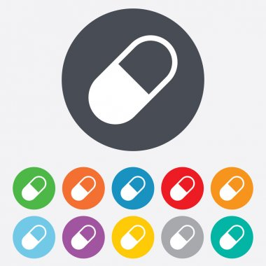 Medical pill sign icon. Drugs symbol.