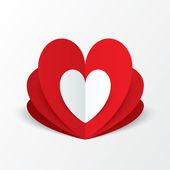 papírové srdce Valentýn karty. květinový koncept.