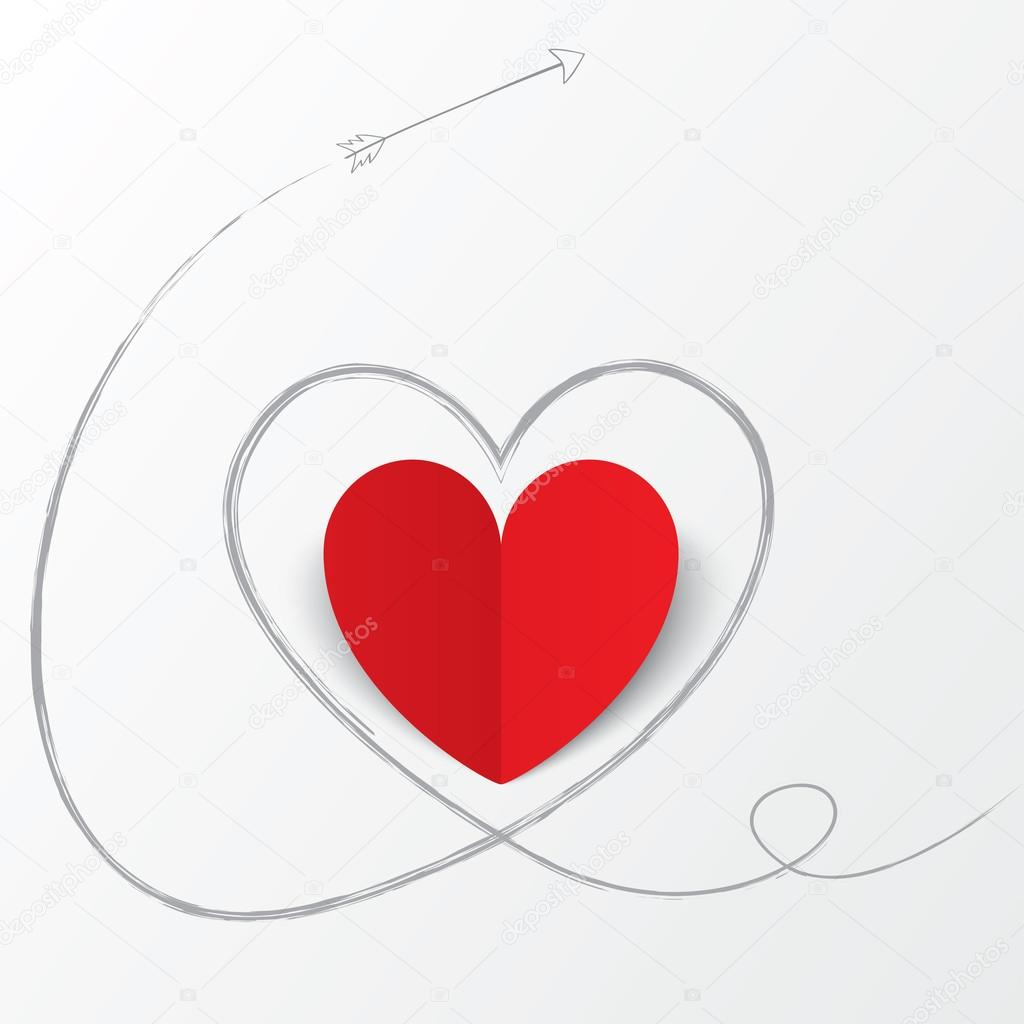 72b34e43a4 Κόκκινο χαρτί καρδιά με βέλος διαδρομή. ημέρα του Αγίου Βαλεντίνου– εικόνα  αρχείου