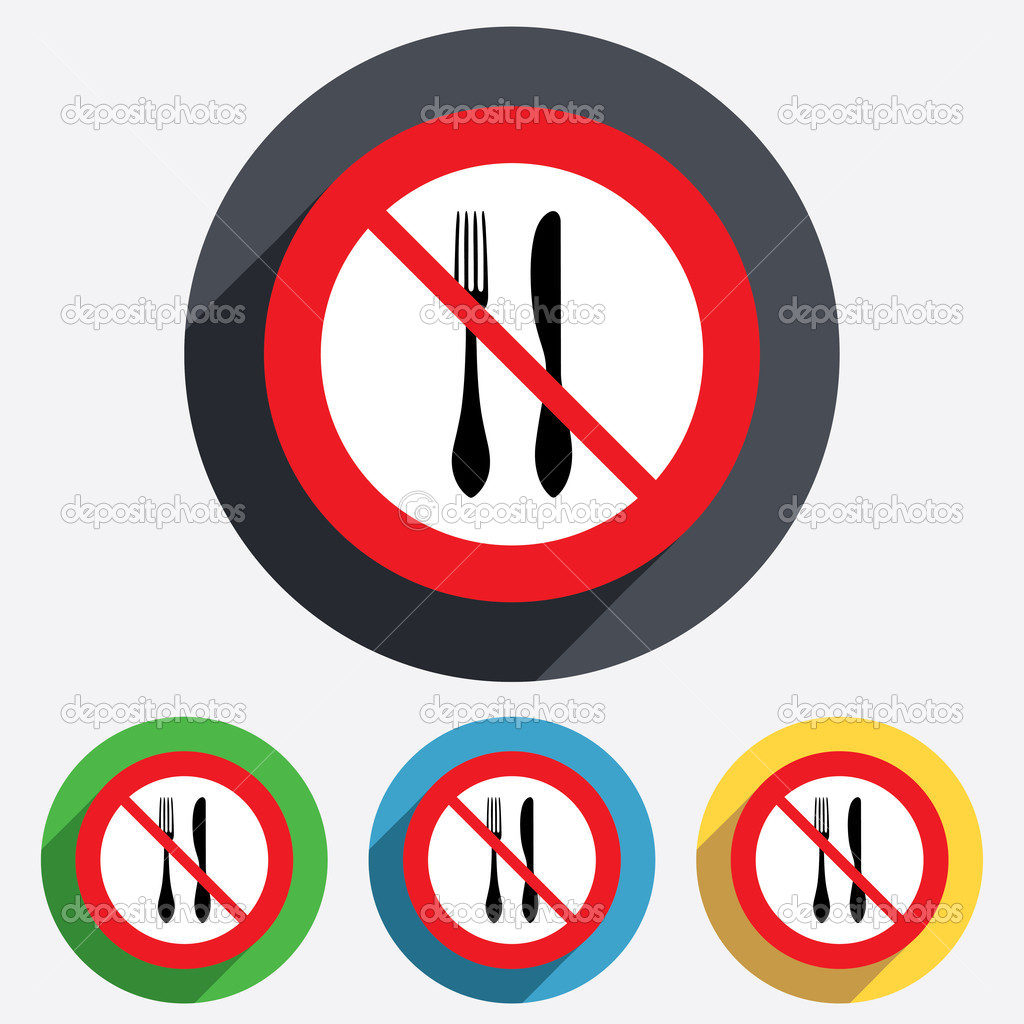 Do Not Eat Sign Icon Knife And Fork Symbol Stock Vector
