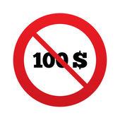 ne 100 dolarů podepsat ikonu. symbol měny USD