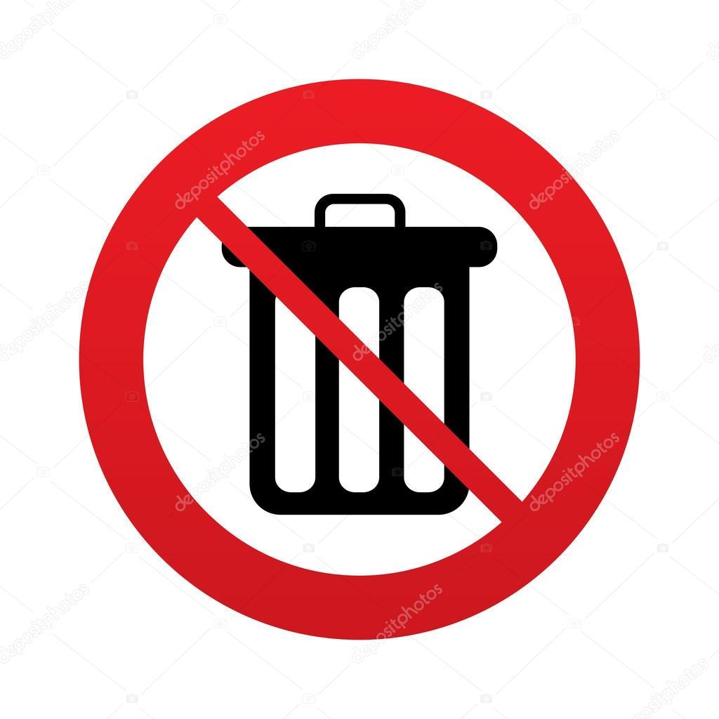 Ne jetez pas de poubelle. Corbeille signe icône . — Photo