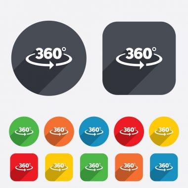 Angle 360 degrees sign icon. Geometry math symbol