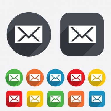 Mail icon. Envelope symbol. Message sign. Mail navigation button. Circles and rounded squares 12 buttons. Vector stock vector