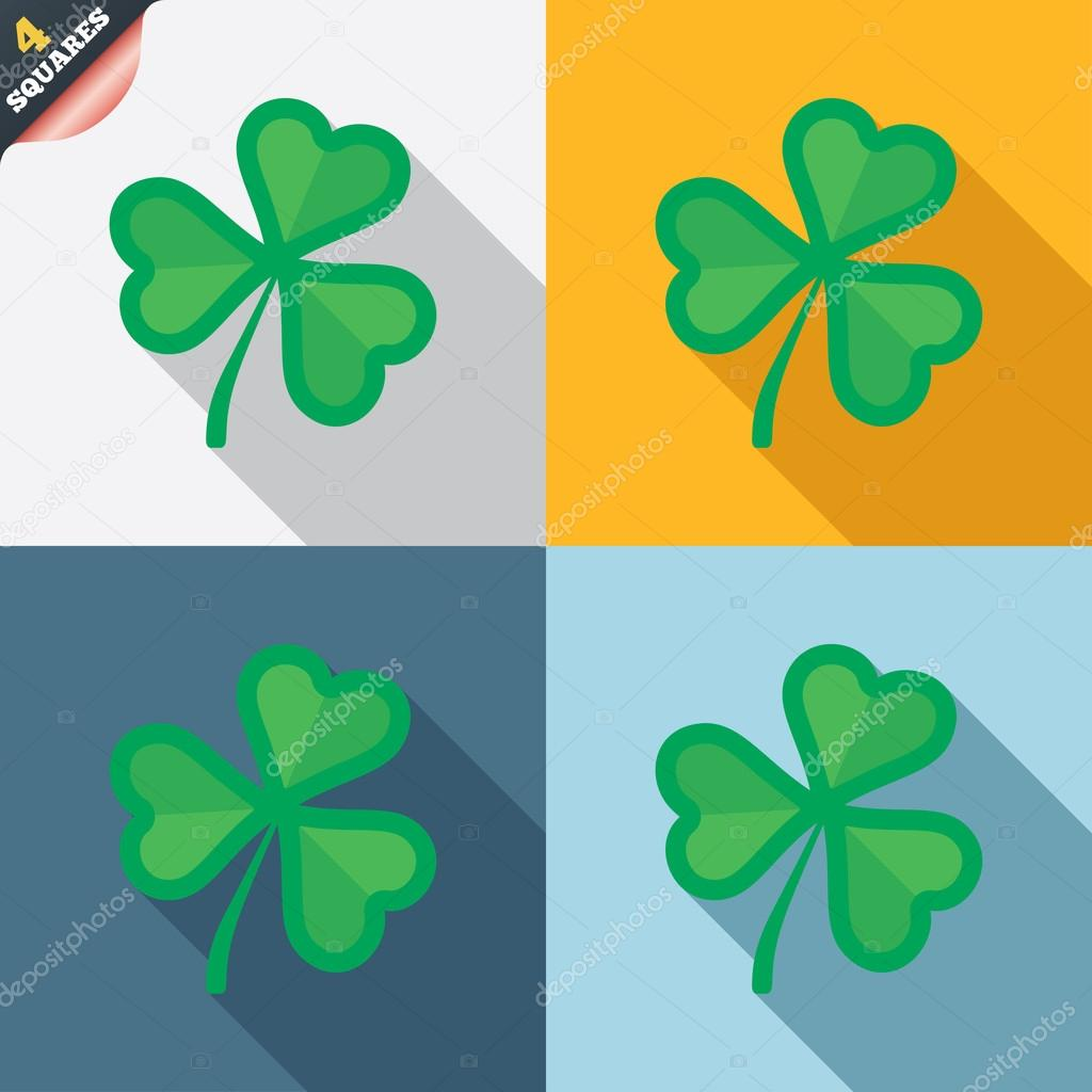 Clover with three leaves sign sttrick symbol stock vector saint patrick trefoil symbol four squares colored flat design buttons vector vector by blankstock biocorpaavc