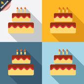 születésnapi torta aláírás ikonra. égő gyertya-szimbólum