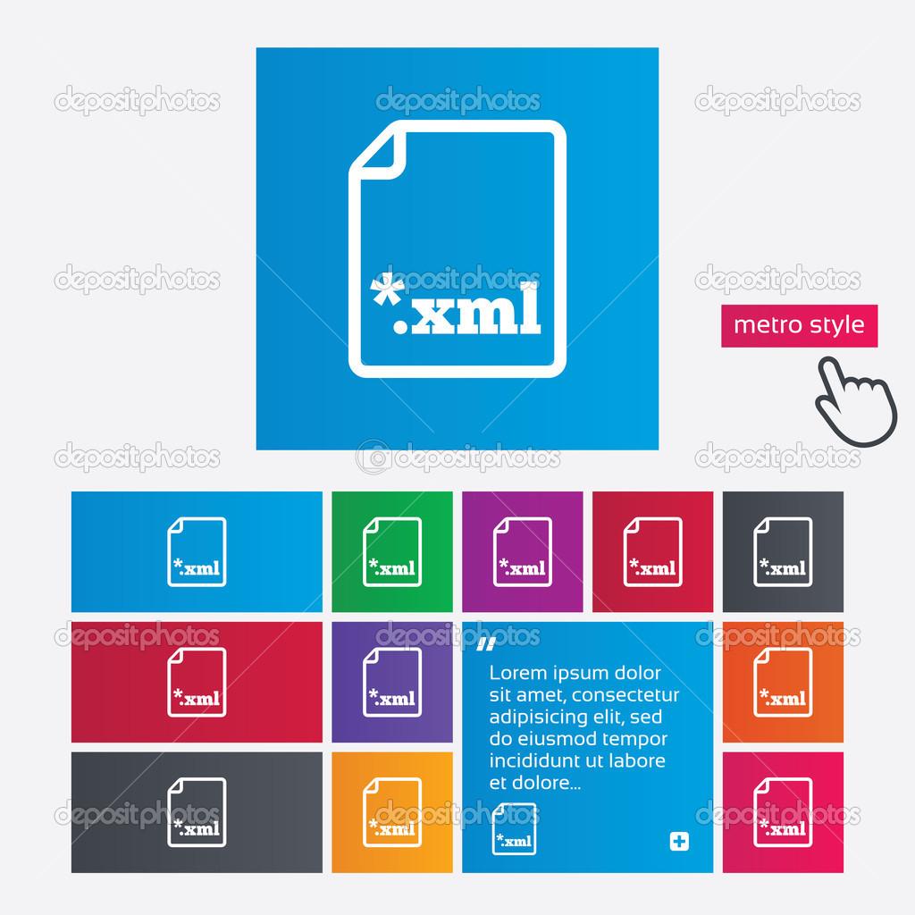Cone de documento de arquivo boto de xml download stock photo baixe boto xml smbolo de extenso de arquivo xml botes estilo metro botes de site interface moderna com o ponteiro do cursor de mo foto de ccuart Images