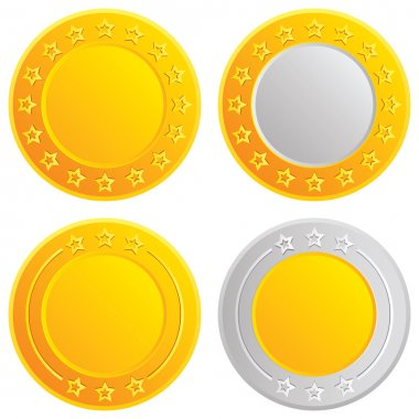 Gold and silver coins. Cash with stars template