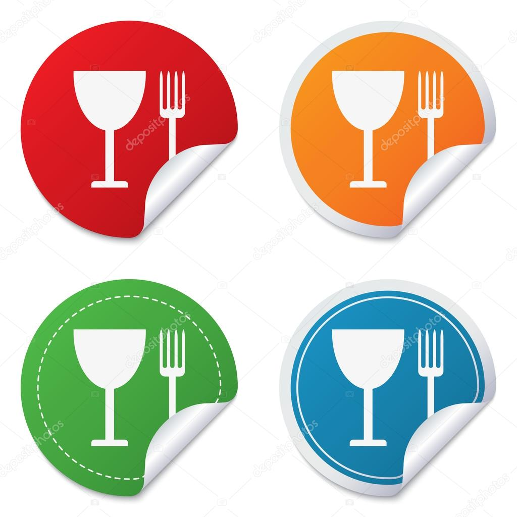 Eat Sign Icon Cutlery Symbol Fork And Wineglass Stock Vector