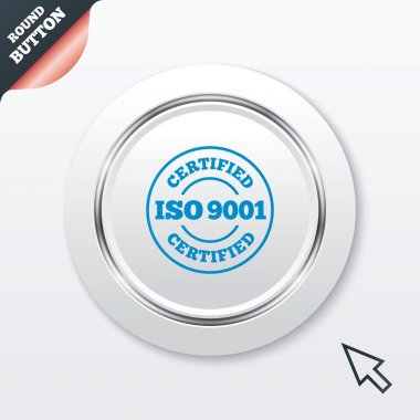ISO 9001 certified sign icon. Certification stamp. White button with metallic line. Modern UI website button with mouse cursor pointer. Vector clip art vector