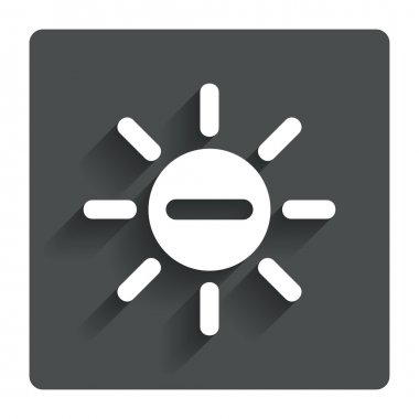 Sun minus sign icon. Heat symbol. Brightness button. Gray flat button with shadow. Modern UI website navigation. Vector clip art vector