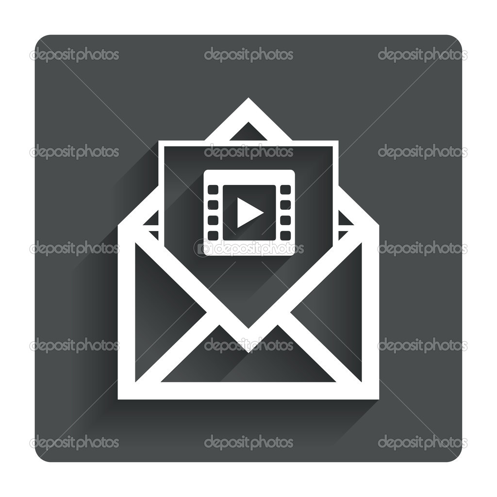 Video-Mail-Symbol. Video-Frame-Symbol. Nachricht — Stockvektor ...