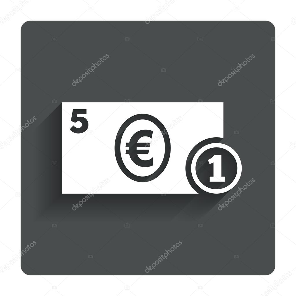 Cash sign icon euro money symbol coin stock vector cash sign icon euro money symbol eur coin and paper money gray flat button with shadow modern ui website navigation vector vector by blankstock buycottarizona Gallery
