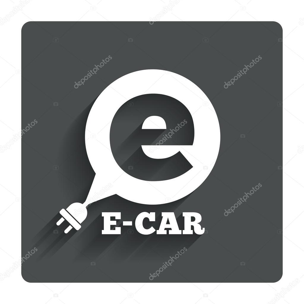 Elektroauto-Schild-Symbol. Elektro-Fahrzeug-symbol — Stockvektor ...