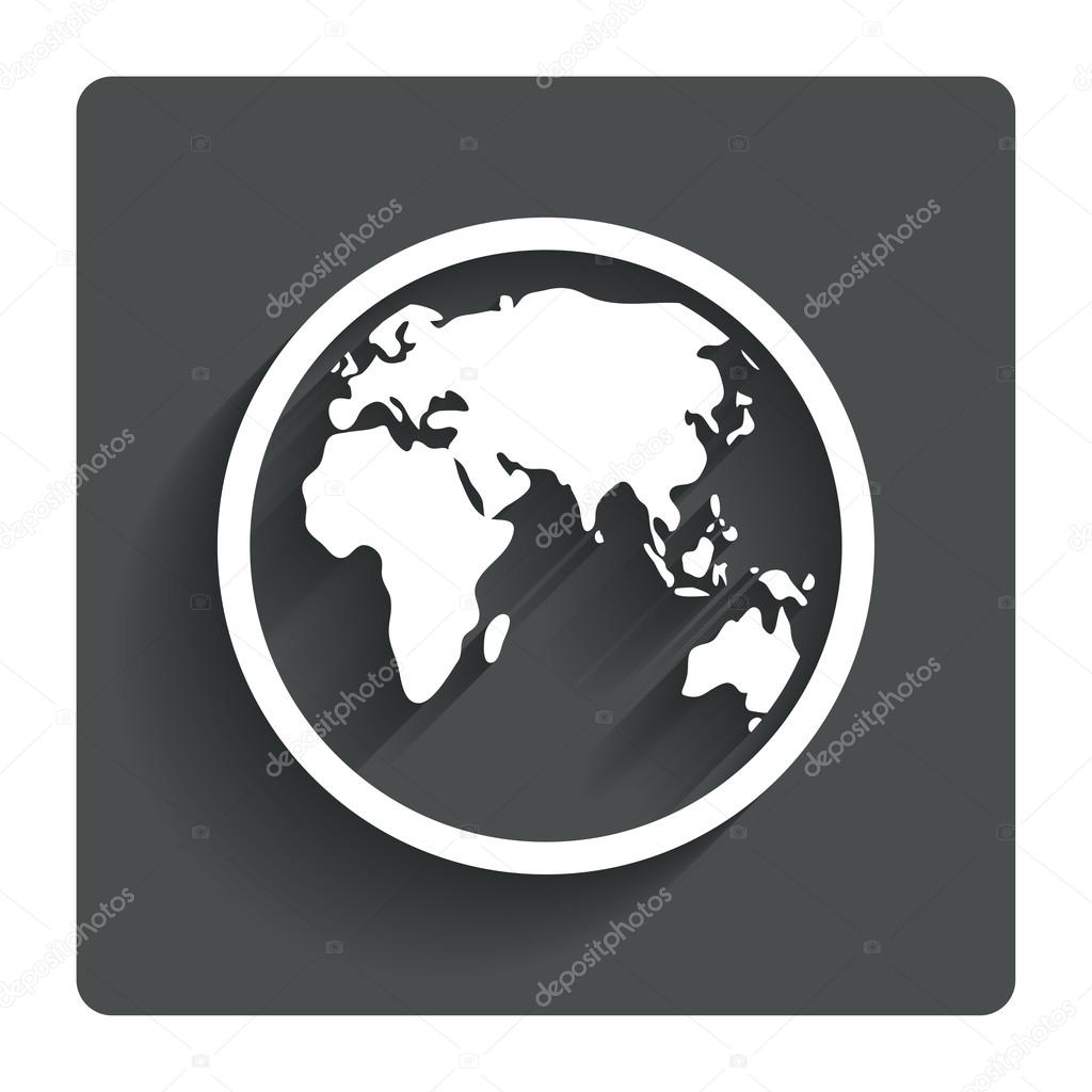 Globe sign icon world map geography symbol stock vector globe sign icon world map geography symbol gray flat button with shadow modern ui website navigation vector vector by blankstock gumiabroncs Image collections