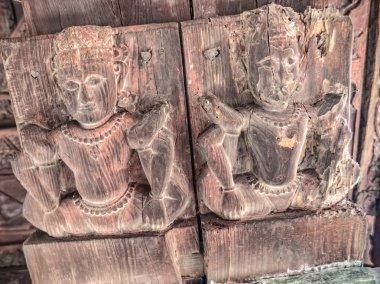 Wood relief of the old temple Chamunda Mata - Chamba city, Himachal Pradesh, in northern India. Dedicated to Goddess Chamunda or Kali stock vector