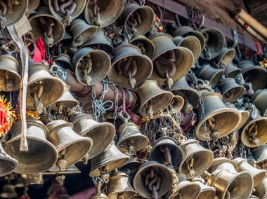 Bells of the old temple Chamunda Mata - Chamba city. Himachal Pradesh, in northern India. stock vector