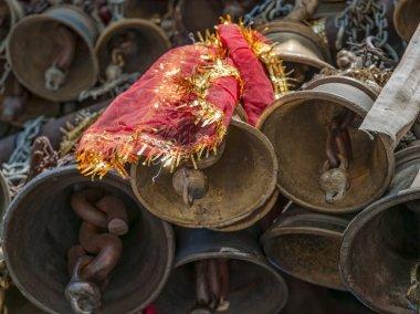 Bells of the old temple Chamunda Mata - Chamba city. Temple of Chamunda Mata is dedicated to Goddess Chamunda or Kali stock vector