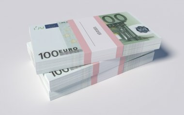 Packets of 100 Euro bills