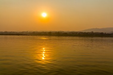 Sunset on Irrawaddy river