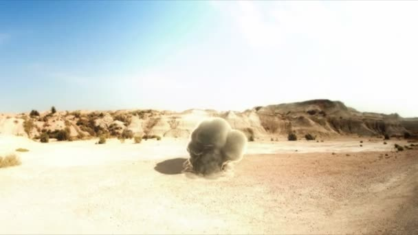 Bomb fall in the desert. 3D animation.