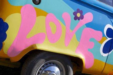Love graffiti on a vehicle