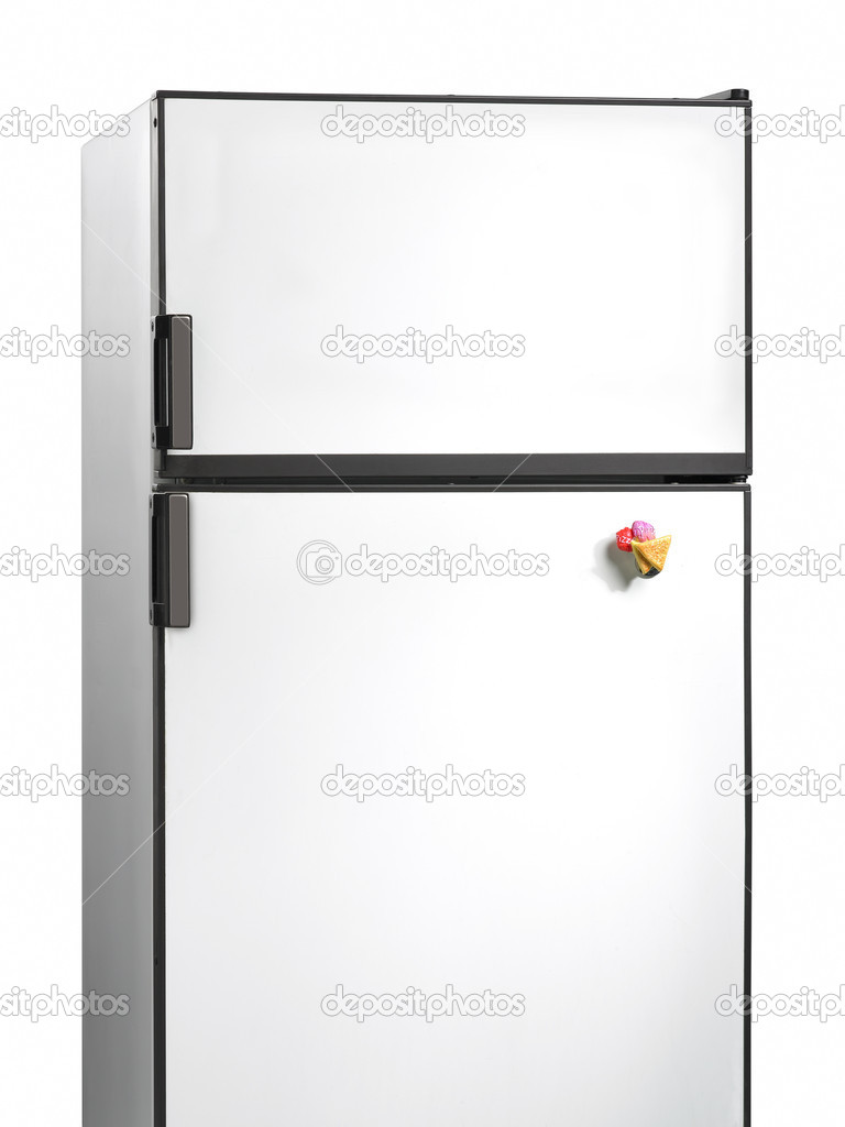 viejo refrigerador con imán plástico — Foto de stock © ABBPhoto ...
