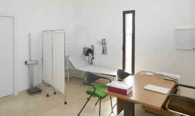 Hospital interior. Doctors office with furniture.