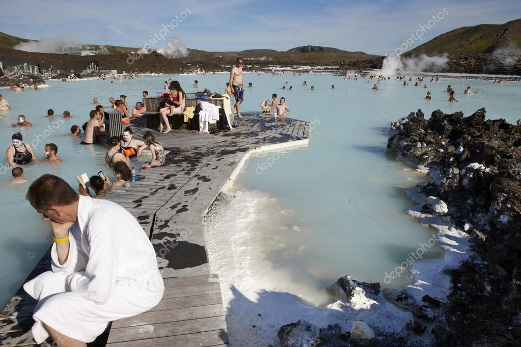 Iceland. Reykjanes Peninsula. Blue Lagoon. Geothermal Spa with s