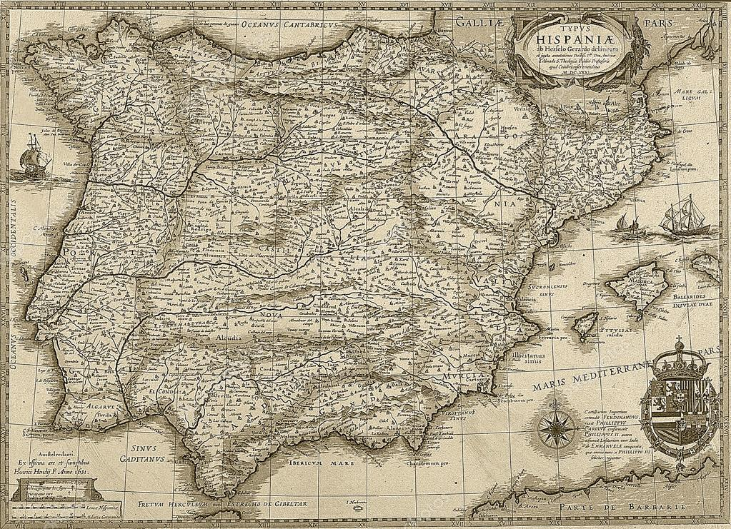 mapa de paris portugal mapa antiguo de España y portugal en tono sepia — Foto de stock  mapa de paris portugal