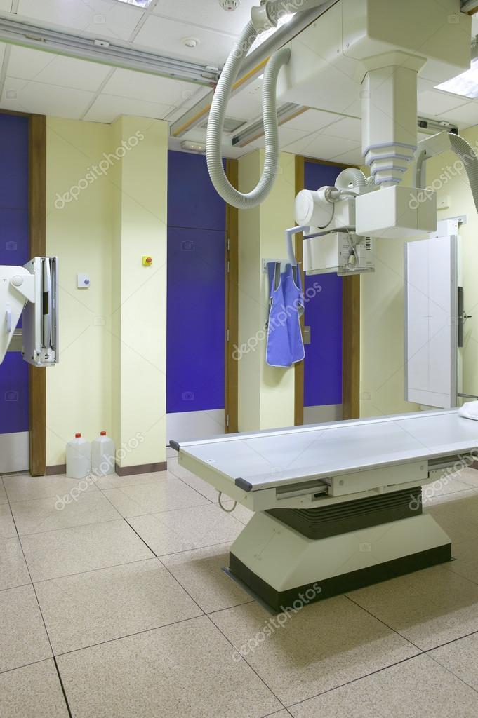 Hospital x-ray room interior with equipment