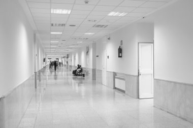 Hospital corridor in black and white