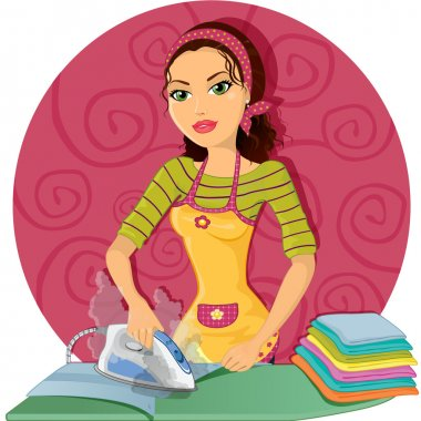 Housewife ironing clothes with steam iron, round bottom,and transparency blending effects and gradient mesh EPS 10 clip art vector