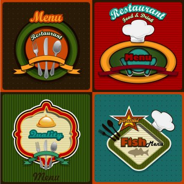 Four menus set vintage style