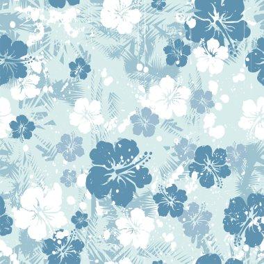 Blue hibiscus seamless